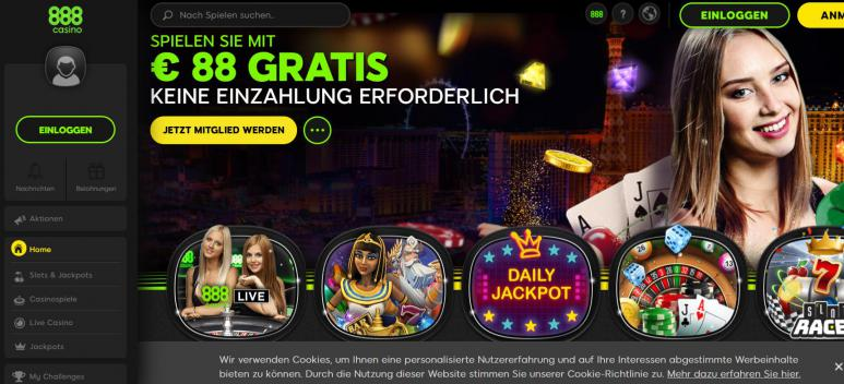 Ein Screenshot vom 888 Casino!